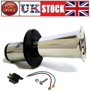 12V-Car-Horn-490Hz-110dB-Loud-Big-Silver-Trumpet-plus-Relay-and-Cable-Klaxon