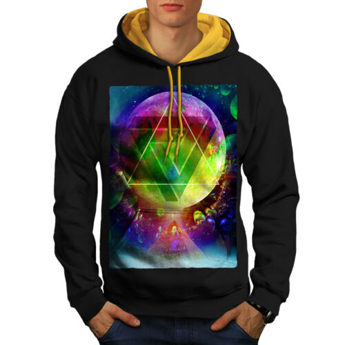 Space Hoodie Cosmos New gold Contrast Black Hood Men Psychedelic w4q5npWxOW