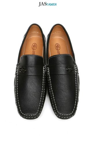 Mens Slip On Driving Shoes Smart Casual Boat Deck Moccasin Leather Look Loafers