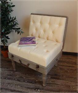 Stuhl Koffer Landhaus Impressionen Sessel Creme Stoff Grau Holz