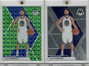 2019-20-Panini-Mosiac-80-Klay-Thompson-Green-Prizm-Refractor-Base-Warriors