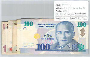 Turquie-Lot-1-5-10-20-50-100-Lira-2005-Pick-216-221