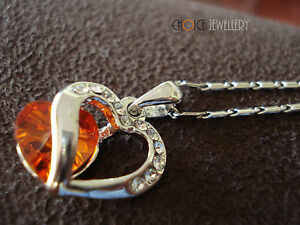 18K-White-Gold-Plated-Red-Split-Heart-Crystal-Swarovski-Elements-Necklace