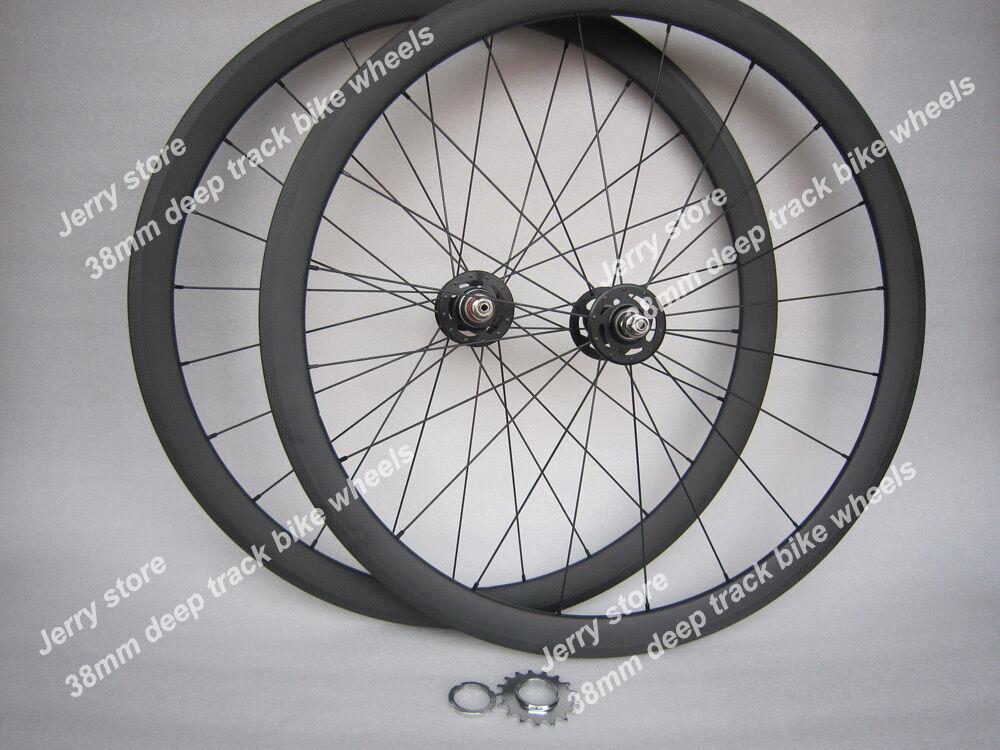 38mm tubular fixed gear single speed wheels, full carbon fiber bike 25mm width
