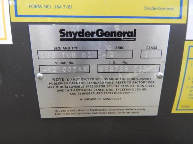 Snyder General Barry Blower 165 Tub Bi CW 1300 7500 CFM