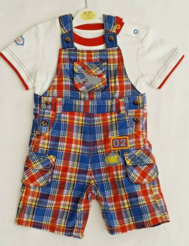 New Baby Boys Ex George Red Blue Checked Shorts Dungarees Tshirt Top Set Outfit