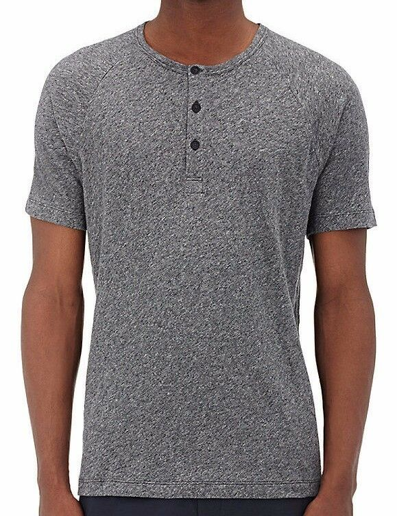 Theory Men's Short Sleeve Charcoal Heather Adrik Collision Jersey Henley Shirt