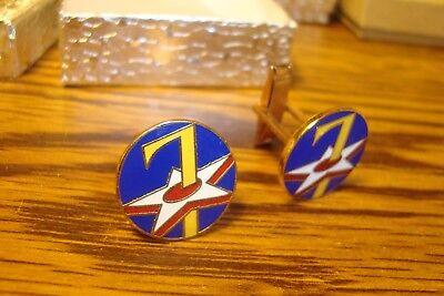 USAF 7th Air Force Korea  Hamilton Silver Plated Cufflinks LUCKY 7 Pair