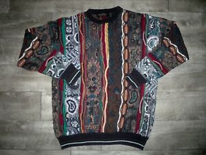 VTG Brandini Bulgarien Sweater Pullover bunt XL Herren Baumwolle Bill Cosby Biggie Style