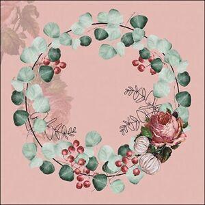 20-Servietten-034-Wreath-of-Eucalyptus-Terracotta-034-33x33-Napkins-Kranz-Blumen