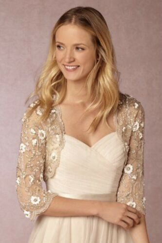 NEW BHLDN MOYNA COUTURE CAPELET SHRUG EMBELLISHED CINZIA TOPPER WEDDING IVORY