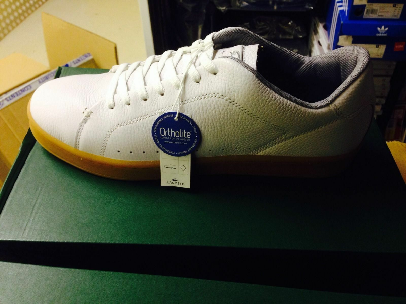 B NEW LACOSTE Carnaby White Leather Trainer shoes Ortholite