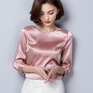 Lady-Satin-Silky-Shirt-Retro-3-4-Sleeve-Glitter-Blouse-Pullover-Tops-OL-Formal