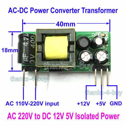 250mA 200mA AC-DC 110~220V to 12V 5VIsolated Step Down Buck Power Supply Module