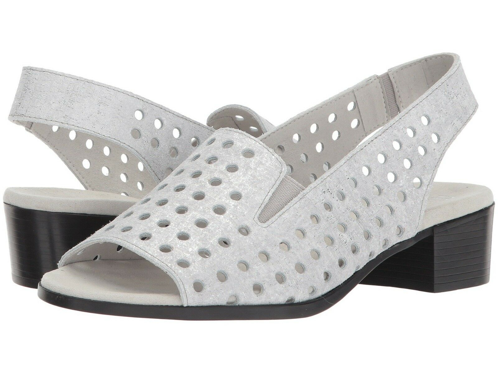 MUNRO MICKEE SILVER METALLIC LEATHER 9 W NIB  185 WOMENS SANDALS M427310