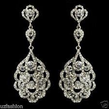 Beautuful Diamante Pedrería De Cristal Boda De Plata Aretes