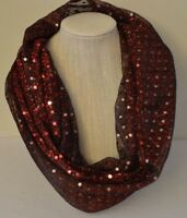 Infinity Scarf Women's Handmade Metallic Dark Red