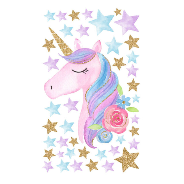Unicorn Hearts Stars Wall Stickers Girls Bedroom Decals 64 Hearts Stars V1 For Sale Online