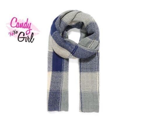 Women/'s Long Grey /& Blue Check Wool-Like Winter Scarf