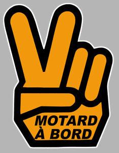 Amical Motard A Bord Main Victory Hand 12x9cm Autocollant/sticker - Moto (ma162) Pour ExpéDition Rapide