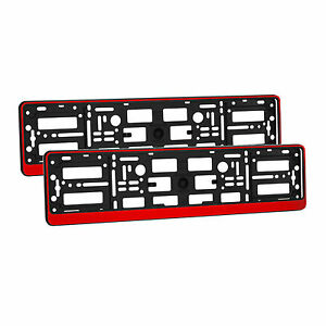 2-x-Universal-Number-Plate-Holders-Surrounds-Frames-Any-Car-Red-Effect