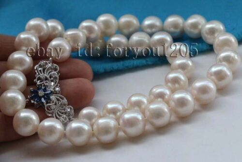 """18/"""" Genuine Natural 12mm White Round Pearl Necklace 925silver clasp  #f2381!"""