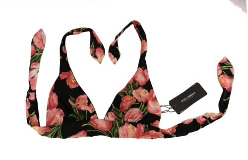 NEW $340 DOLCE /& GABBANA Bikini Top Pink Red Roses Print s XS IT1