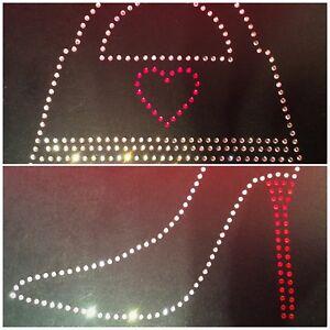 Love /& Hearts Diamond iron-on Rhinestone Transfer Diamante Hot-Fix T-Shirt
