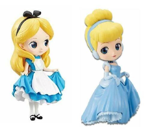 A Disney Princess Q Posket Figures Set of 2 Cinderella Alice in Wonderland