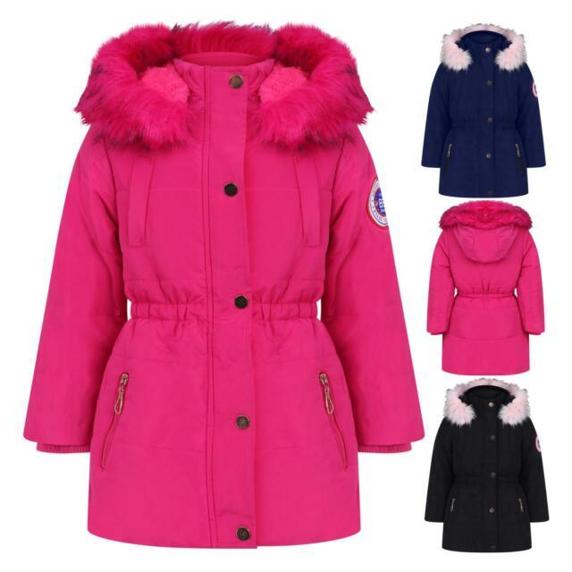 Aelstores Girls Fleece Parka Jackets Faux Fur Hooded Long Winter Coats Waterproof Kids School Anoraks Age 3 14 Years