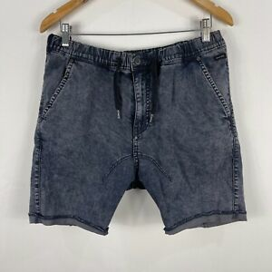 Industrie-Mens-Shorts-36-Blue-Denim-Elastic-Waist-Drawstring-Pockets-Chino