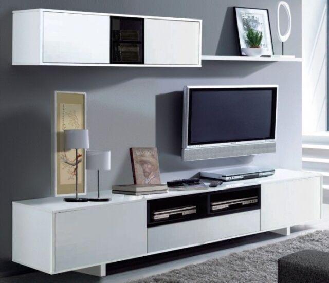 Bambi Tv Media Centre Unit Living Room Furniture Set White Melamine