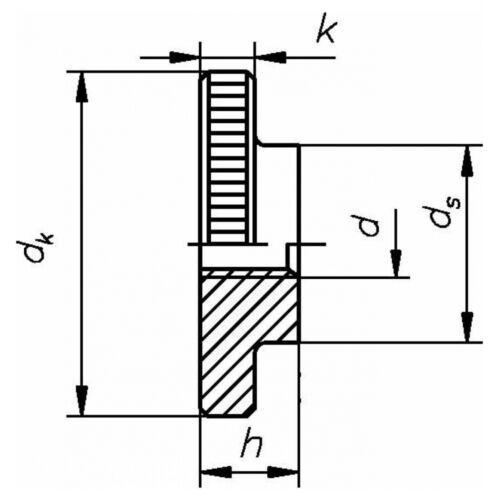 M 8 05 Au blank gedreht flache Form 50x DIN 467 Rändelmuttern