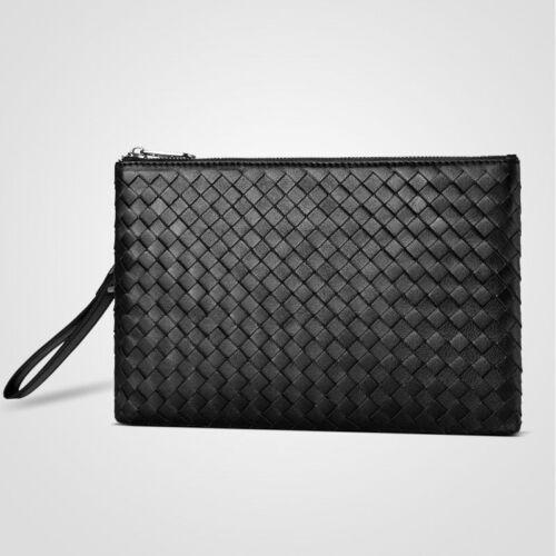 Men Handbags Sheepskin Weave Envelope Genuine Leather Fashion Large Capacity