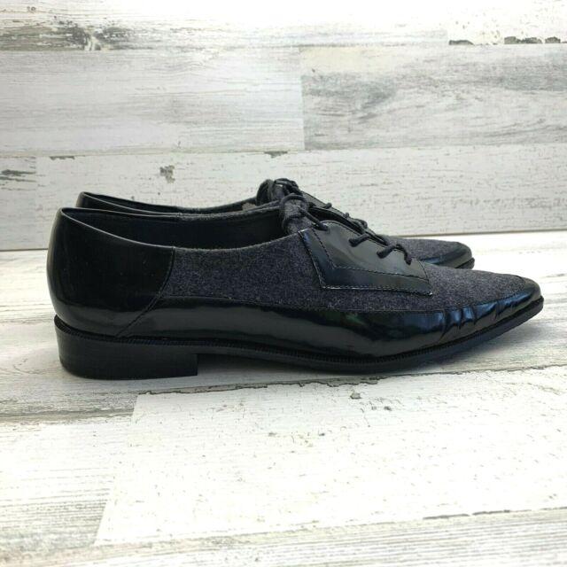 Women's Stuart Weitzman Black Leather Wool Lace Up Oxfords Shoes Size 7.5 M