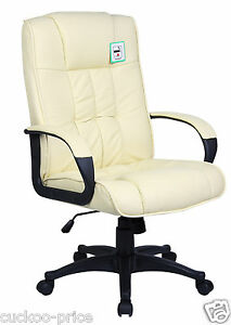 Cream-Padded-PU-Leather-Executive-Swivel-Office-Chair-Computer-Desk-Study-Chair
