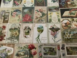Lot-of-25-Pretty-Flowers-amp-Scenes-Antique-Floral-Greetings-Postcards-a479