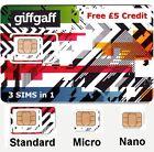 UK PAYG GIFFGAFF Triple SIM Standard + Micro + Nano+ Free postage + £5 Credit _.
