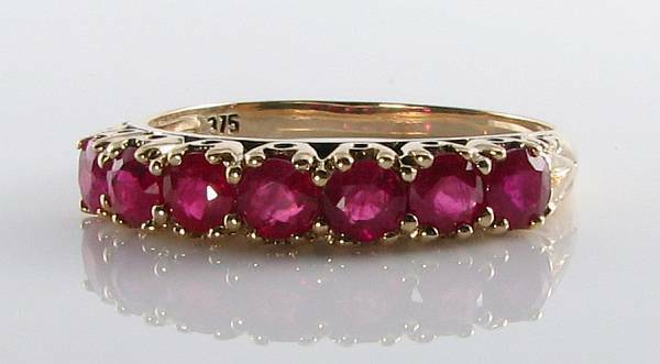 CLASSIC 9CT 9K YELLOW gold  INDIAN RUBY ETRNITY ART DECO INS RING FREE RESIZE