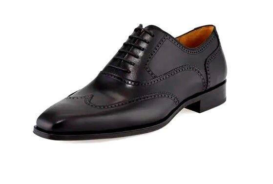 Magnanni Bout D'Aile Richelieu à Oxford en cuir noir anniversaire de mariage   chaussures 10
