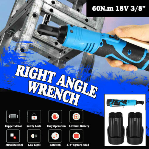 Cordless 3//8/'/' Electric 18V 60N.m Ratchet Right Angle Wrench Set 8000mAh Battery