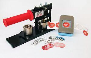 """1"""" Tecre Button Maker Machine+Button Boy Double Level Hand Held Punch+1000 Parts"""