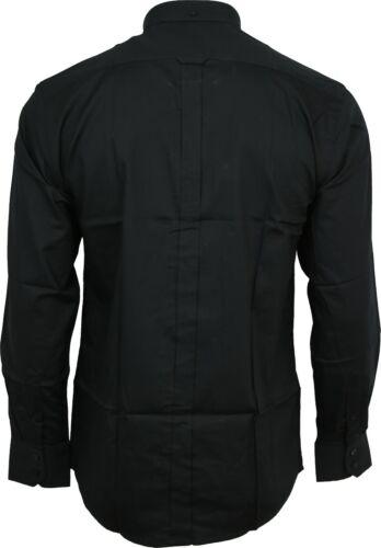 Relco Mens Oxford Black White Button Down Collar Short /& Long Sleeve Shirt