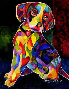 COLOR-ME-BEAGLE-8X10-DOG-Colorful-Print-from-Artist-Sherry-Shipley