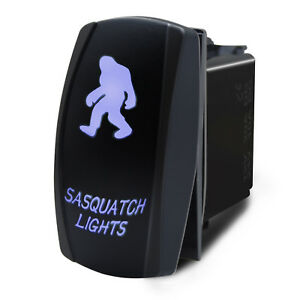 5 Pin Rocker Switch Laser Etched SASQUATCH LIGHTS LED Blue SPST Polaris Car Boat