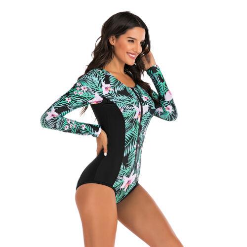 Women/'s Long Sleeve Rash Guard UPF 50 Surfing One Piece Swimsuit Bathing Suit
