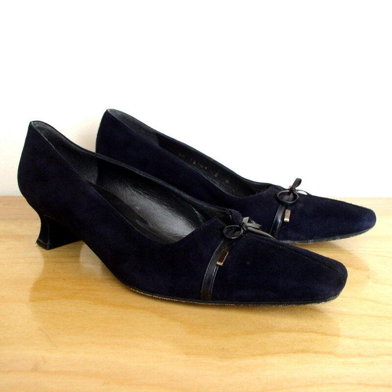 Stuart Weitzman Womens Heels Navy bluee Suede Leather Bow Pump Spool Heel Sz 8