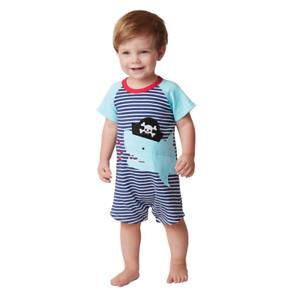 Mud Pie E7 Baby Boy Pirate Shark Striped One-Piece Shortall 1032324