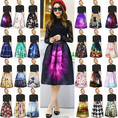 Retro Women Floral Print High Waist Dress Skater Flared Pleated Swing Long Skirt