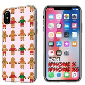 Thin-Gel-Phone-Case-Apple-iPhone-XS-Gingerbread-Man-CuteGraphic-Background-Print